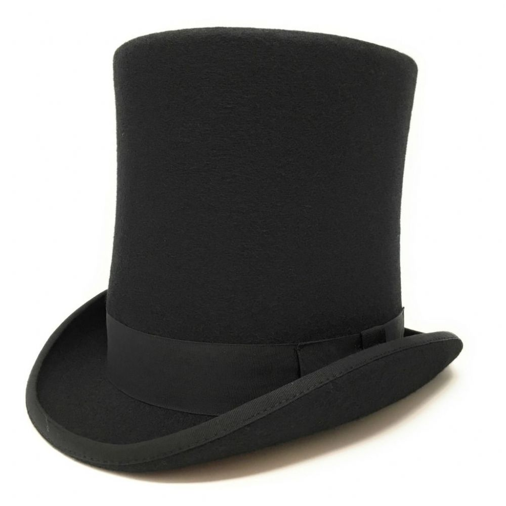 Black Stovepipe Wool Felt Top Hat 8